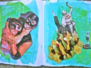 Left side - photo copied from another journal page. Right Side magazine pictures